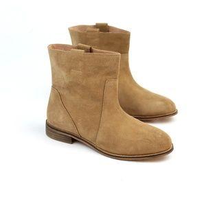 SEYCHELLES Wisdom tan suede low heel ankle bootie